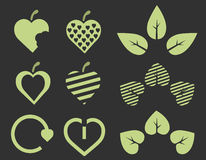 Eco green hearts Stock Images