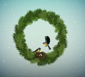 Eco green holiday idea, wreath of christmas tree branches with nest and two birds inside, sweet home, protect the forest stock illustration