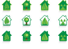 Eco green home icons Stock Photography