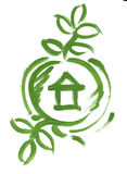 Eco green house in circle web icon sketch paint Royalty Free Stock Image