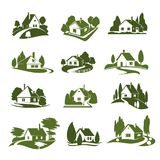Eco green house with tree and lawn isolated icon vector illustration
