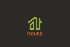 Eco Green House Logo design  Real Estate  Royalty Free Stock Photography