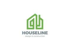 Eco Green House Logo design vector linear Real  Stock Photography