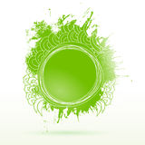 Eco green ink drawing splash elements label Royalty Free Stock Photo