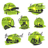 Eco green isolated icon set for ecology design Stock Photos