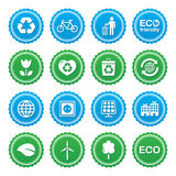 Eco green labels set - ecology, recyling, eco power concept. Retro blue and green gradient labels set with eco icons Royalty Free Stock Photos