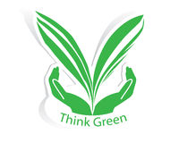 Eco green leaf with hand concept vector Stock Photo