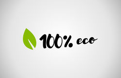 100% eco green leaf handwritten text white background. 100% eco text green leaf black white logo creative company icon design template color colorful black stock illustration