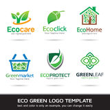 Eco Green Leaf Logo Template Design Vector Royalty Free Stock Photo