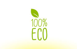 100% eco green leaf text concept logo icon design. 100% eco green leaf text concept logo vector creative company icon design template modern background hand Vector Illustration