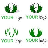 Eco green logo, circle leaves grass royalty free illustration