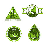 Eco green and nature protection vector icons Stock Photo