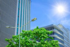 Eco green office building clean fresh air in urban area blue sky. Sunny cityscape stock photos