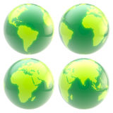 Eco green planet: set of four glossy globes Stock Photos