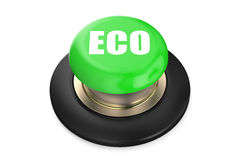 Eco green pushbutton. Isolated on white background Royalty Free Stock Images