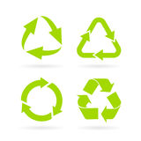 Eco green recycled symbol. S set isolated on white background Stock Image