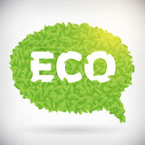 ECO green speech bubble. Leaf illustration. from background. layered Stock Illustration
