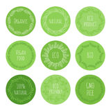 Eco green stickers with hand drawn floral elements Stock Photography