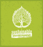 Eco Green Sustainable Living Creative Organic Vector Banner Concept On Rough Background.  Stock Photos