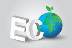 Eco green tree Earth concept idea. Isometric,Drawing lines. design Stock Photography