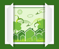 Eco from green window. A illustration of eco concept design Royalty Free Stock Image
