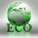 Eco green word and earth globe Royalty Free Stock Image