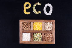 Eco groats. Six kinds of of groats in Deryaev box Royalty Free Stock Image