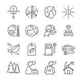 Eco ha collegato la linea icone illustrazione vettoriale