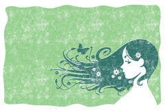 Eco Hair Grunge. Vector of beautiful girl with flowers in her hair on green background Royalty Free Stock Image