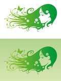Eco Hair. Vector of beautiful girl with flowers in her hair on green background royalty free illustration