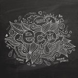 Eco hand lettering On Chalkboard Stock Image