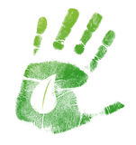 Eco handprint leave illustration design Royalty Free Stock Image