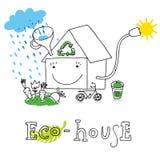 Eco Haus, zeichnend Stockfotografie