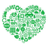 Eco heart background -  green ecology Stock Image
