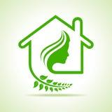 Eco hemsymbol med kvinnaframsidan Royaltyfri Bild