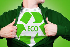 Eco hero. Eco man showing green symbol recycle Stock Images