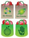 Eco het Winkelen Zakken met Hart Vectorillustratie Royalty-vrije Stock Afbeelding