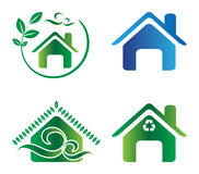 Eco home. Illustration of four home on white background Stock Photo