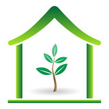 Eco home. Illustration of plant on the home Stock Photos