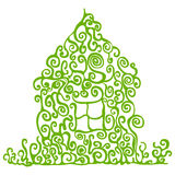 Eco home. Green house illustration on the white background Royalty Free Stock Photos
