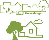Eco home design. Icons for design stock photo