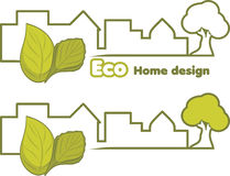 Eco home design. Two icons for design Royalty Free Stock Images