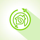 Eco home icon with leaf Stock Photography