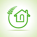 Eco home icon with leaves on white background Stock Photos