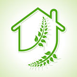 Eco home icon with leaves on white background Royalty Free Stock Image