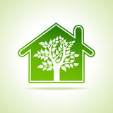 Eco home icon with tree Royalty Free Stock Photos