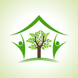Eco home icon with tree Royalty Free Stock Photography