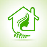 Eco home icon with women face Royalty Free Stock Image