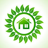 Eco home inside the leaf background Royalty Free Stock Photos