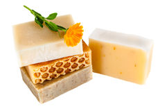 Eco home made soap  white Royalty Free Stock Photos